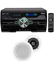 "DV4000 4000w Bluetooth Home Theater DVD Receiver+2 5.25"" White Ceiling Speakers"
