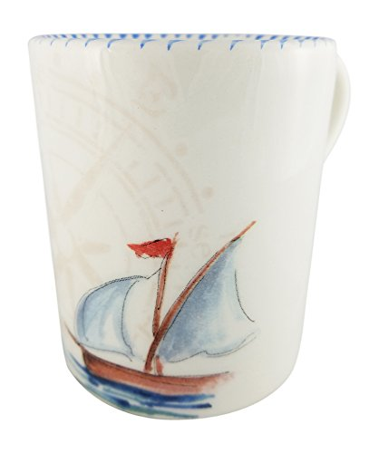 Nautical Sailboat Abbiamo Tutto 11 oz Ceramic Coffee Mug (Coffee Beige Service Cart)