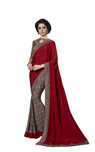 KIMANA Indian Designer Ethnic Bollywood Traditional Crepe Silk Saree Sari S3833