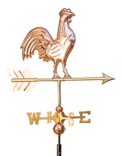 Classic Rooster Weathervane - East Coast Weathervanes and Cupolas Garden Classic Rooster Weathervane Polished Copper (Copper, W/Roof Mount)