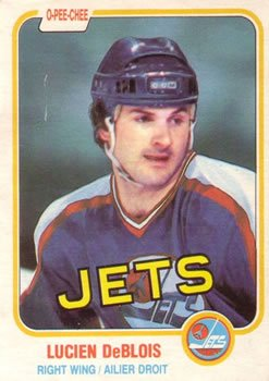 1981 O-Pee-Chee Regular (Hockey) Card# 74 Lucien Deblois of the Winnipeg Jets NrMt Condition