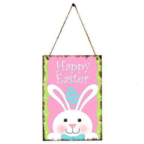(KODORIA Easter Wooden Hanging Plaque Sign Board Door Hanger Wooden Wall Plaque for Easter Spring Home Hanging Decoration - B)