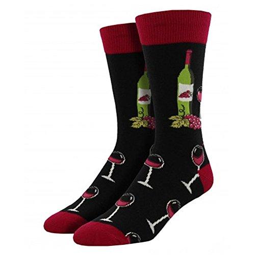 (Socksmith Men's Wine Scene Crew Socks, Black, Large)