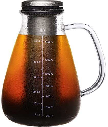 Veken Airtight Cold Brew Iced Coffee Maker & Iced Tea Maker -1.5L/51oz Glass Carafe with Removable Double Mesh Stainless Steel Filter, Includes Non-Slip Silicone Base and Sponge Brush