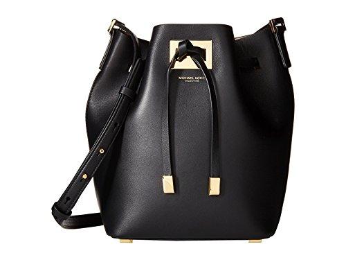 Michael Kors 'Medium Miranda' Black Leather Women's Bucket Handbag - Kors Miranda