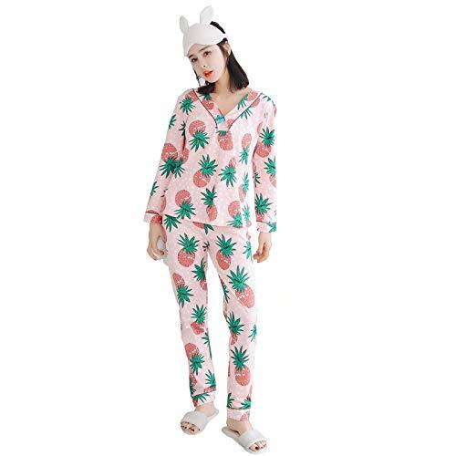 Home Otoño Manga Traje Y Con Mujer Servicio Cuello V Pijama size En L Wilrnd De Nuevo Piña Larga Primavera Moda Pantalones Algodón Arco Domicilio A d1nOYZx