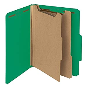 """Smead 100% Recycled Pressboard Classification Folder, 2 Dividers, 2"""" Expansion, Letter, Green, 5 per Pack (14057)"""