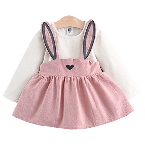 Baby Girls Rabbit Style Long Sleeve Princess Flower Dress (3T, Pink)]()