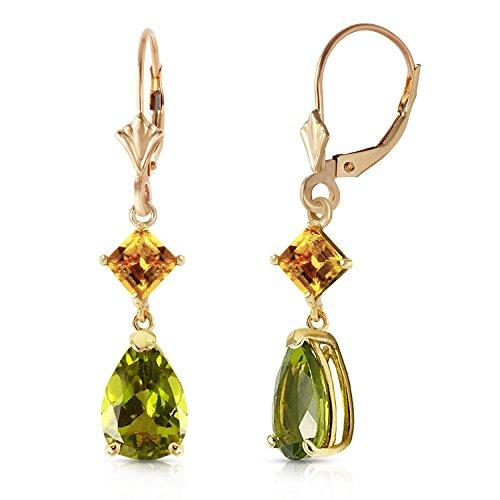14k Yellow Gold Leverback Earrings with Peridot and (Citrine Peridot Earrings)
