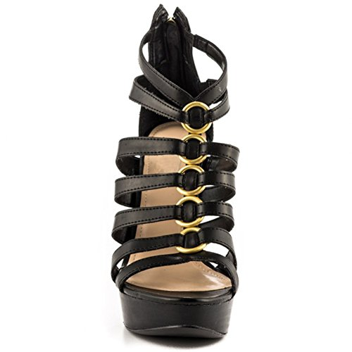 Party Shoes Ring toe Evening Kolnoo Womens Black Heel Fashion High Gold Summer Sandals Deco 13cm Peep xFPq6wH