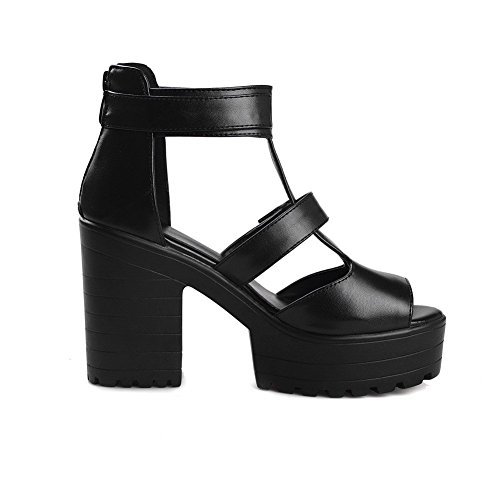 Sandals Soft AllhqFashion Material Solid Women's Heels High Zipper Peep Black Toe 5zqpZzS