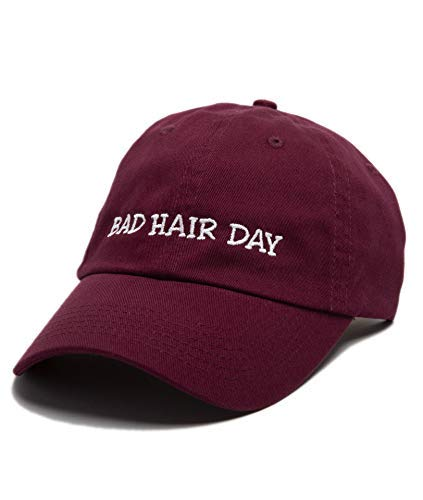 (Beanie Bliss Bad Hair Day Baseball Cap Embroidered Dad Hat Unstructured Low Profile Adjustable Strap Back (Maroon))