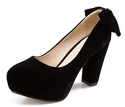 AmoonyFashion Womens High-Heels Frosted Solid Round-Toe Pumps-Shoes Black