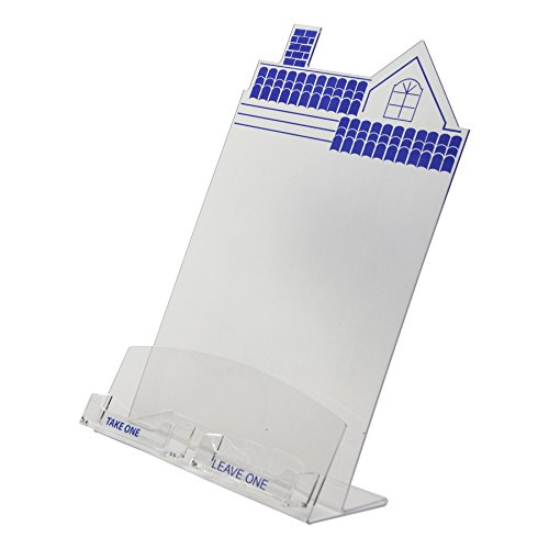 Clear-Ad - HSE-8511-C2 - Clear Acrylic House Shaped Flyer & Dual Business Card Holder 8.5x11 (Pack of 2) ()