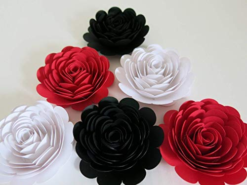 (Black, Red & White Paper Roses, 3 Inch Paper Flower Blooms, Set of 6 Wedding Flowers, Bridal Shower Decor, Mad Hatter Theme Tea Party Decorations)