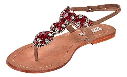 Maharani's Mujer Moda Casual Vestir Cortar Fuera Zapatos Verano Dar la vuelta Fracaso Cuero Plano Sandalias Rojo