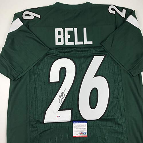Autographed/Signed Le'Veon LeVeon Bell New York Green Football Jersey PSA/DNA COA