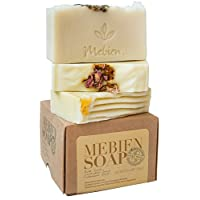 Mebien Organic Vegan Soap Bar - Homemade Natural antibacterial Luxury handmade, gifts for women, body hand face bath spa, Rose Lavender Calendula essential oils soaps, mom birthday gifts sets 3x3.5 oz