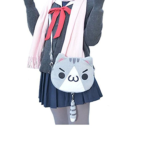 TOMORI® Cute Women Anime Kaomoji-kun Emotiction plush kawaii Cat single Cross Body shoulder bag (Grey)