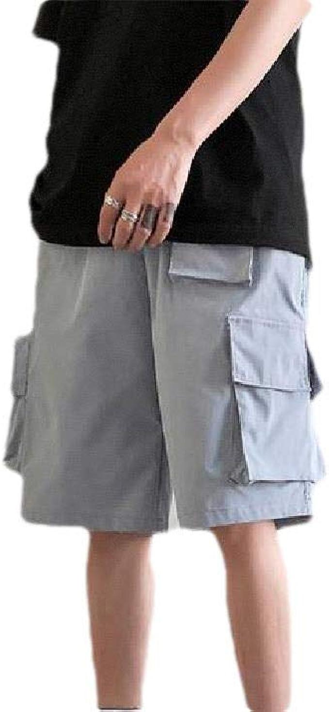EnergyWD 男性マルチポケットソリッド弾性ウエストドローストリングストレートツウィルカーゴショートパンツ