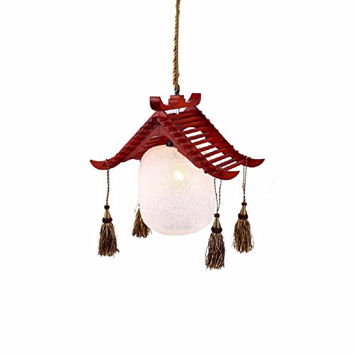 HQLCX Chandelier Chinese style rustic solid wood single head Vintage dining lamp pendant by HQLCX-Chandeliers