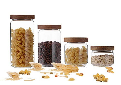 Emica Home Borosilicate Glass Kitchen Container/Canisters with Acacia Wood Air-tight Lid Set-4 Pack, Glass Food Storage…
