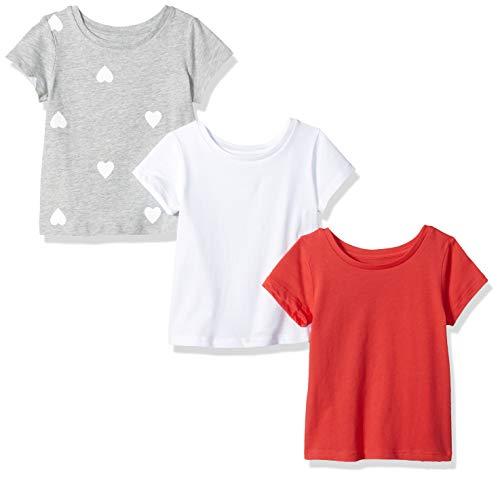Amazon Essentials Toddler Girls' 3-Pack Short-Sleeve Tee, Heart/Pink/White, -
