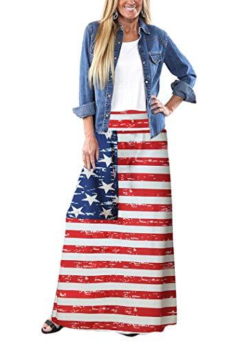 Yinggeli Women's Bohemian Print Long Maxi Skirt (N-Flower, XX-Large)