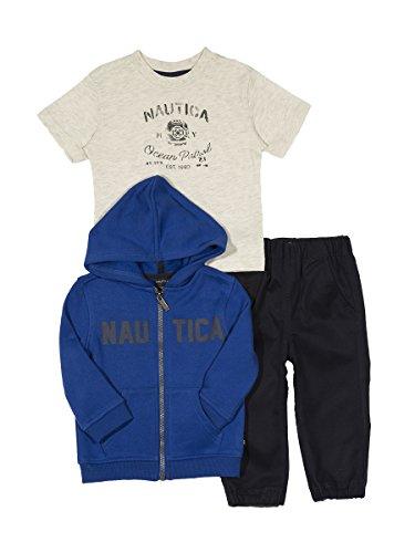Nautica Baby Boys' Fleece Hoodie, Short Sleeve Tee, and Twill Pant Set, Cobalt, 18 Months (Fleece Boys Baby)
