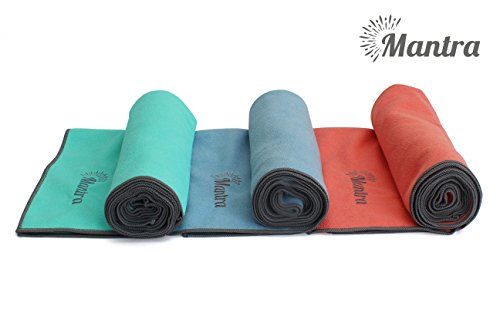 Mantra™ Yoga Towel - Non Slip Hot Yoga Towel with Anchor Fit Corner Pockets - Best Yoga Mat Towel for Pilates, Bikram, and Ashtanga