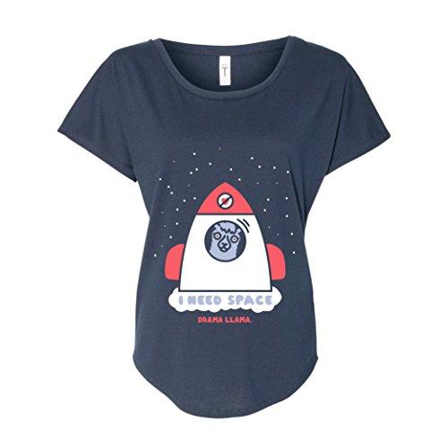 Drama Llama Womenu0027s T Shirt   I Need Space In Midnight Navy Blue | Ladies  Llama Tee Shirt (Extra Small)
