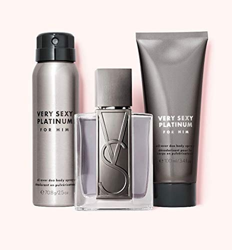 Victoria's Secret Very Sexy Platinum For Him Gift Set 3-pc Includes 1.7 oz Cologne, 1-2.5 oz All-Over Deo Body Spray, and 1-3.4 oz 2-in-1 Hair and Body Wash