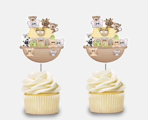 Noah Ark Cupcake Toppers 12 pcs, Noah's Ark Animals Cake Picks Birthday Decoration, Party Supplies, Neutral Baby Shower (Ark Toppers Noah Cake)
