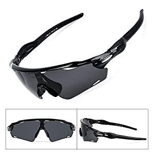 BATFOX Polarized Sports Sunglasses with Interchangeable Lenses, Comfortable Silicone Leg, tr90 Unbreakable Frame for Running Cycling Baseball Fishing Driving,100% UV Protection (Black, F-868)
