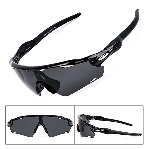BATFOX Polarized Sports Sunglasses TAC Glasses with 3 Interchangeable Lenses for Men Women Youth Running Cycling Baseball Fishing Golf Softball Driving Outdoor 100% UV Protection(Black, F-868)