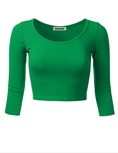 Cotton Beaded Top (SSOULM Women's 3/4 Sleeve Scoop Neck Cotton Slim Fit Crop Top KellyGreen L)