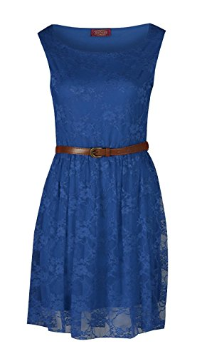 Buy belted floral lace dress - 5