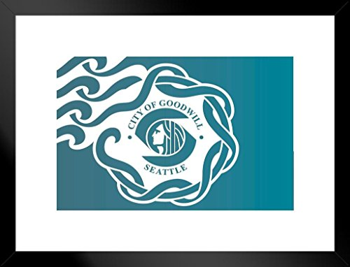 (Poster Foundry Seattle Washington City Flag Matted Framed Wall Art Print 20x26 inch)