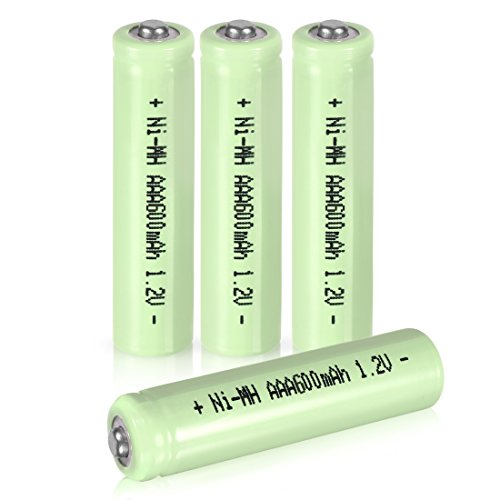 uxcell 4 Pcs 1.2V 600mAh AAA Ni-MH Battery Rechargeable Batteries Button Top for LED Flashlight Headlamp