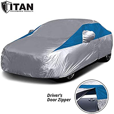 Titan Lightweight Car Cover. Compact Sedan. Fits Toyota Corolla, Nissan Sentra, and More. Waterproof Car Cover Measures 185 Inches, Includes Cable and Lock, and a Driver-Side Door Zipper (Bondi Blue): Automotive