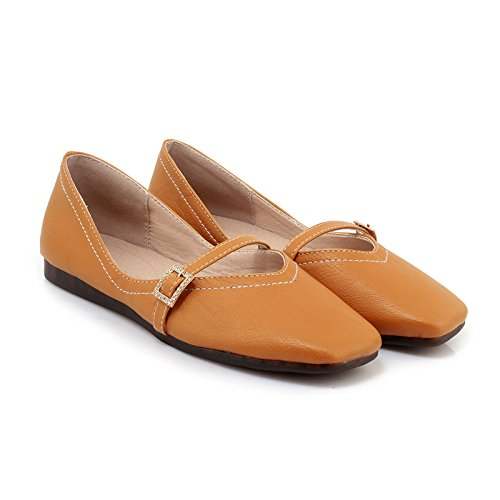 Show Shine Womens Instep Buckles Casual Flats Shoes Yellow FiiV7
