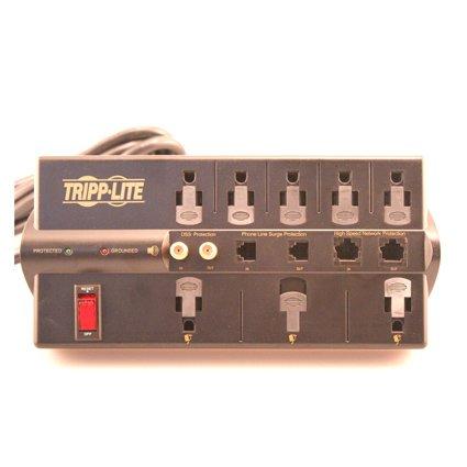 037332095329 - Tripp Lite 8 Outlet Surge Protector Power Strip, 10ft Cord Right Angle Plug, Tel/Modem/Coax/Ethernet, & $250K INSURANCE (TLP810NET) carousel main 0