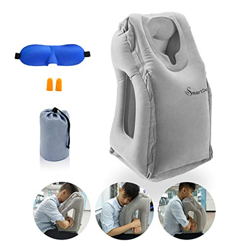 Travel Pillow, Airplane Pillow, Neck Pillow for Airplane Travel, Travel Pillows for Airplanes & Office Napping with Head & Neck Support (Grey) ()