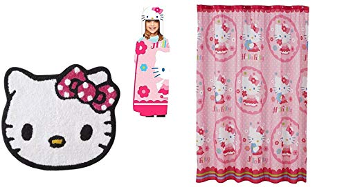 Hello Kitty Bath Decor Set (Includes Shower Curtain, Rug, Wrap Towel)
