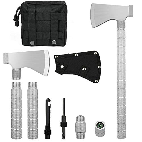 IUNIO Camping Axe Multi-Tool Hatchet Survival Kit Tactical Tomahawk Folding Portable Camp Ax with Sheath Hammer Compass Flint Whistle for Outdoor Hiking Backpacking Hunting Emergency ()