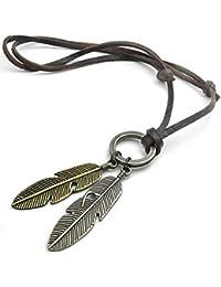 KONOV Vintage Angel Feather Pendant Leather Cord Mens...