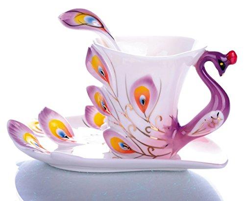 Emoyi Porcelain Tea Cup and Saucer Coffee Cup Mug Peacock Theme Creative Present (Purple)