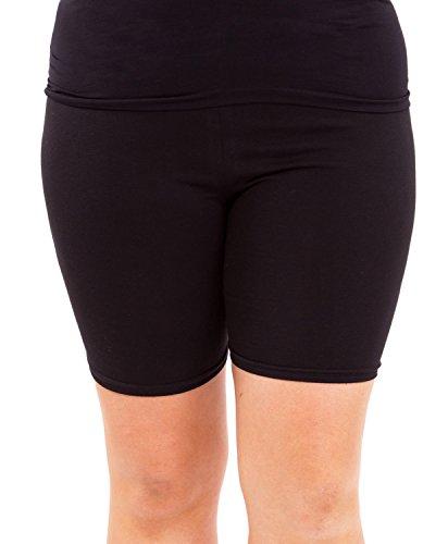 Black Woman Plus Size Cotton Spandex Mid Thigh Shorts, 2XL