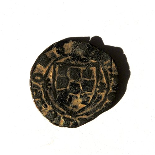 PT 15th Century Portugal, Alfonso V Ceitil. Castle, Waves Below / Coat of Arms. 1438-1481 AD #2 Coin Very Good