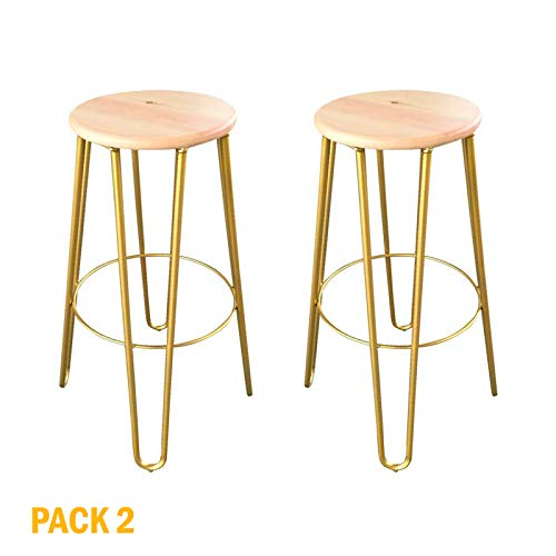 MUEBLES MARIETA OLD STYLE NOW Pack 2 Taburetes Voltereta Gold